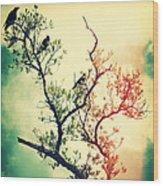Tree Of Crows II Lights Wood Print