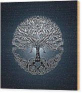 Tree Of Life Nova Blue Wood Print