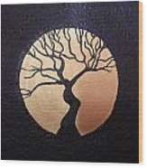 Tree Of Life Purple With Gold Moon Wood Print