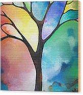 Original Art Abstract Art Acrylic Painting Tree Of Light By Sally Trace Fine Art Wood Print