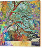 Tree Of Many Colors Wood Print