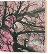 Tree Of Pink Wood Print