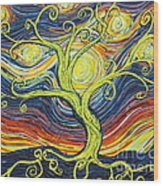 Tree Of Starlight Wood Print