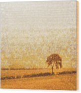 Tree On Hill At Dusk Wood Print by Pixel  Chimp