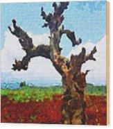 Tree On Red Land Painting Wood Print
