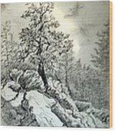 Tree On The Rocks Wood Print