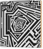 Tree Rings Abstraction Maze  Wood Print