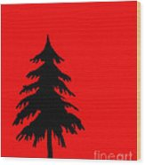 Tree Silhouette On A Red Background 2 Wood Print