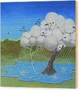 Tree Storm Wood Print