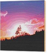 Tree Top Sunrise Wood Print