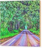 Tree Tunnel Kauai Wood Print