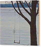 Tree With A Swing Wood Print