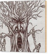 Treeman Wood Print by Michael Mestas