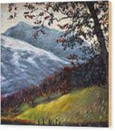 Trees And Hills Wood Print