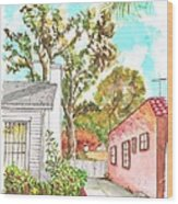 Trees Between Two Houses In West Hollywood - California Wood Print