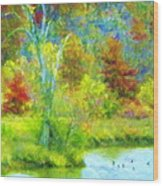 Trees In Spring On A Lake Wood Print