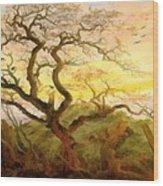 Trees Of Crows Wood Print