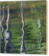 Trees Reflections On The River Wood Print