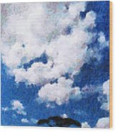 Trees Under Blue Cloudy Sky Painting Wood Print