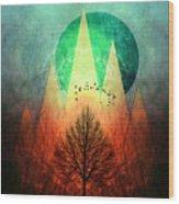 Trees Under Magic Mountains I I Wood Print