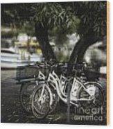 Tres Bikes Wood Print
