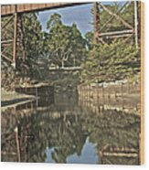 Trestle Over Reflecting Water Wood Print