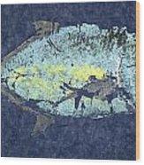 Gyotaku Trevally Wood Print