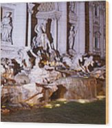 Trevi Fountain Evening Wood Print