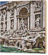 Trevi Fountain In Rome Italy Wood Print