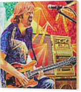 Trey Anastasio Squared Wood Print by Joshua Morton