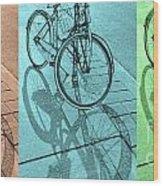 Tri-coloured Bicycle Print Wood Print