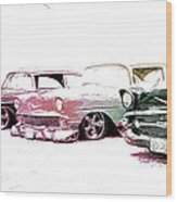Tri Five Chevys Wood Print