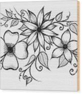 Tri-floral Sketch Wood Print