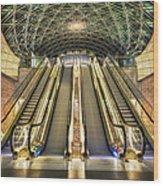 Triangeln Station Escalators Wood Print