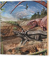 Triassic mural 2 Wood Print