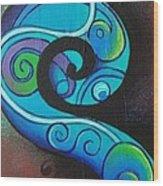 Tribal Koru Blue Wood Print