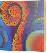 Tribal Koru Red Wood Print