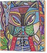 Tribal Mosaic Cat Garden Wood Print