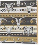 Tribal Seamless Pattern With Skulls Of Wood Print