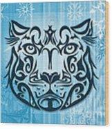 Tribal Tattoo Design Illustration Poster Of Snow Leopard Wood Print