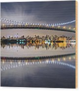Triboro Bridge Panorama At Night Wood Print