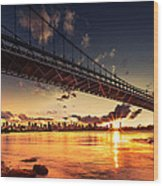 Triboro Sunset Wood Print