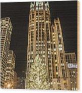 Tribune Plaza At Christmas Wood Print
