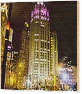 Tribune Tower On A Rainy Night Wood Print