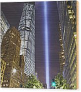 Tribute In Light And Freedom Tower Wood Print