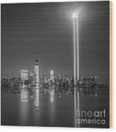 Tribute In Light Reflection Wood Print