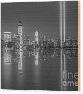 Tribute In Light Reflections Bw Wood Print
