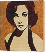 Tribute To Elizabeth Taylor Coffee Painting Wood Print