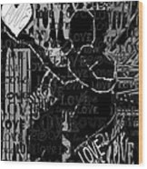 Tribute To Love In Black Wood Print