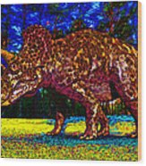 Triceratops Painting Wood Print